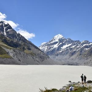 2018年 ニュージーランド旅行記 第27回 マウント・クックのフッカーバレー・トラックの終点、氷河が浮かぶフッカー湖へ