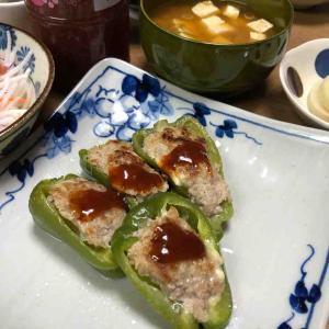 豆腐とおからパウダー入りピーマンの肉詰め