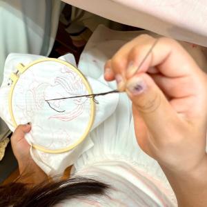 夏休み親子刺繍教室
