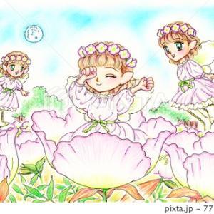 昼咲き月見草とピンクの妖精たちのイラスト