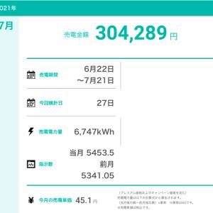 【太陽光発電】7月の売電実績(第1・第2・自宅発電所)