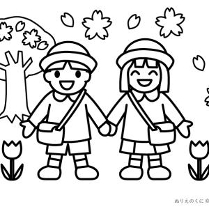 ぬりえ:「春・入園」