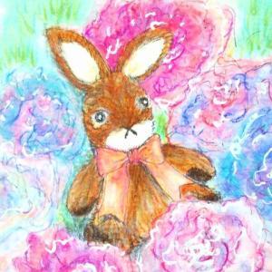 コピックと色鉛筆でお絵描き~お花とうさぎ♪