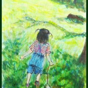 コピックと色鉛筆でお絵描き『娘2歳、夏の後ろ姿』