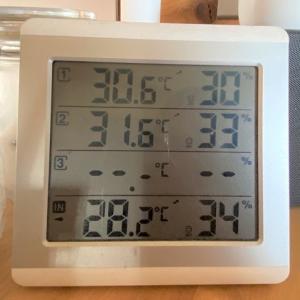 初夏のG-LOGログハウスの温度 リビングは涼しい