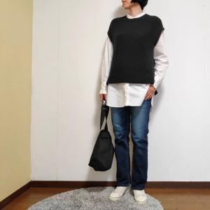 ユニクロ白シャツのシンプルコーデ