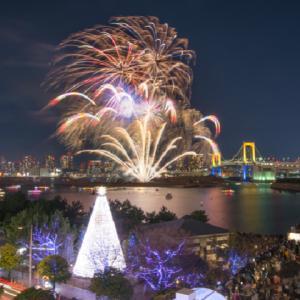 【12月の土曜日】海の隣!東京湾一望レストランと船から見るお台場花火 ~限定クリスマスコース料理
