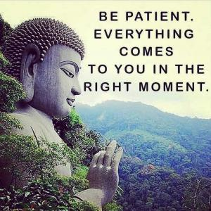 BE PATIENT. EVERYTHING COMES TO YOU IN THE RIGHT MOMENT.
