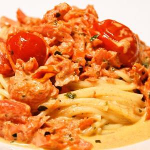 塩鮭とトマトクリームのスパゲッティ