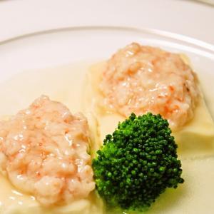 豆腐と海老のすり身の蒸し物