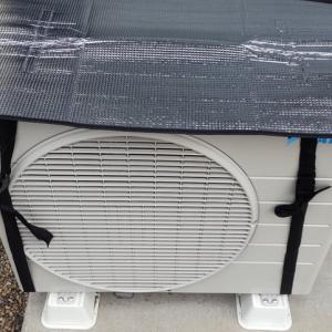 【省エネ対策】エアコンの室外機にアルミカバーをつけてみました。