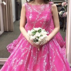 【20代・30代花嫁の結婚式カラードレス試着】クチュールナオコ/宇宙ドレスKH-0003