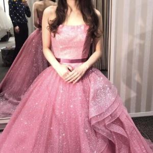 【20代・30代花嫁の結婚式カラードレス試着】クチュールナオコ/KH-0449ピンクドレス