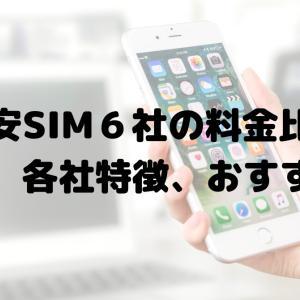 大手格安SIM6社の料金比較表 最安値、各社特徴、おすすめは?