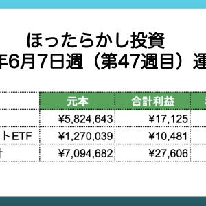 【ほったらかし投資】 2021年6月7日週 運用報告 利益は¥27,606でした。