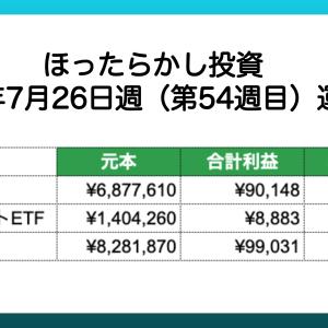 【ほったらかし投資】 2021年7月26日週 運用報告 利益は¥99,031でした