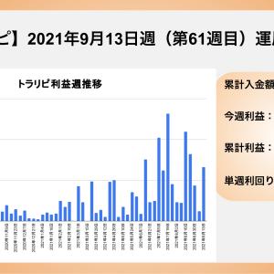 【FXトラリピ】2021年9月13日〜 61週目の運用実績 利益は¥132,100でした