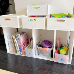 カラーボックスで片付く子どものおもちゃ収納をつくる。ニトリ、無印のボックス活用