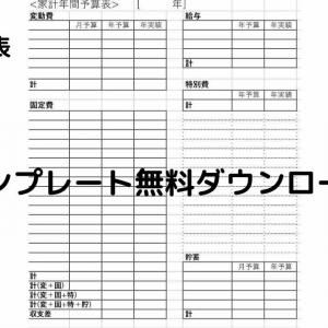 [無料家計簿 年間予算表 テンプレート]赤字家計から黒字へ。簡単家計管理方法