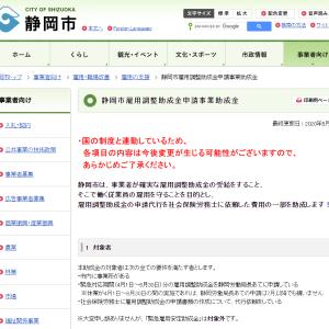 静岡市雇用調整助成金申請事業助成金について