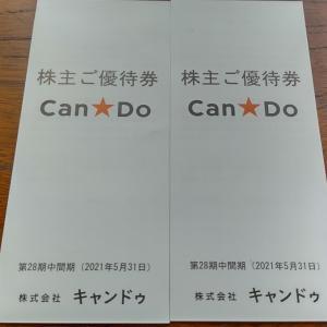 100円ショップのキャンドゥから株主優待券が届きました