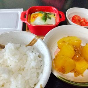 源タレで簡単!ジャガイモの煮っころがし朝ごはん♪