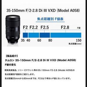 TAMRON 35-150mm F/2-2.8 のどこまでF2か判明