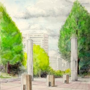 新緑の山下公園・世界の広場