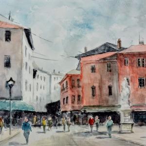 イタリアの街角(カスタネット水彩画作品模写)