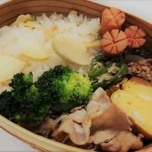 【お弁当】たけのこごはん・豚肉とねぎのダシダ炒め・じゃこピーマン・甘い卵焼き・チョリソー ~八王子ラーメンの食べ比べ~