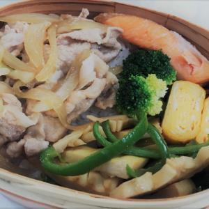 【お弁当】豚丼・鮭のハラス・たけのことピーマン炒め・甘い卵焼き・茹でブロッコリー ~イオンの株主優待が届きました~