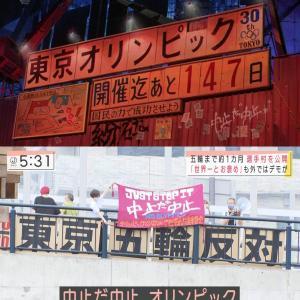 朝日新聞世論調査 東京五輪開催 賛成が34%に急増! 中止32% 再延期20%