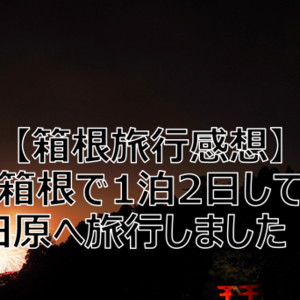 【箱根旅行感想】箱根で1泊2日して小田原へ旅行しました!!