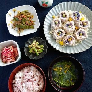 紫キャベツとひよこ豆おからの焼売、茎ごぼうの花椒きんぴら