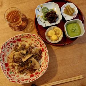 4/9*たけのこと高黍のあんかけ丼、うすい豆腐、レンズ豆のあんこの草団子