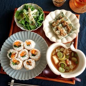 5/15*海苔なしキンパ、チヂミ、チョレギサラダ、ひよこ豆豆腐のスンドゥブ