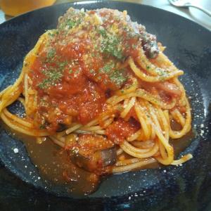 茄子が消えた・・・茄子とベーコンのトマトスパゲティー