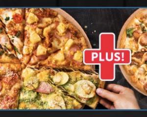 Lサイズピザ1枚買うとMサイズピザもう1枚無料 でお得に!