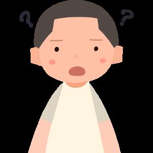 疑問符を浮かべる少年 A boy with a question mark