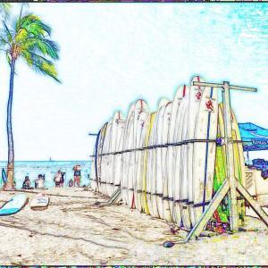 色んな風景~ワイキキビーチ・色鉛筆画風~