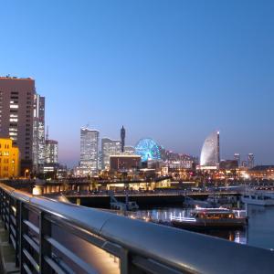 【横浜の夜景/日本大通りエリア】夜の山下臨港線プロムナード