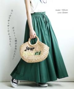 【イーザッカマニア】贅沢なふわっと感 コットンガーゼ素材 ロングスカート