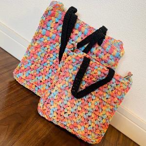 ペーパーヤーンでお散歩バッグ編んでみました