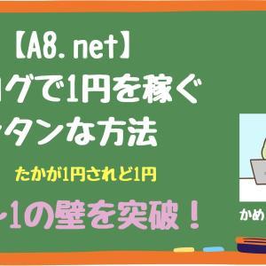 【A8.net】ブログで1円を稼ぐカンタンな方法、0〜1の壁を突破!