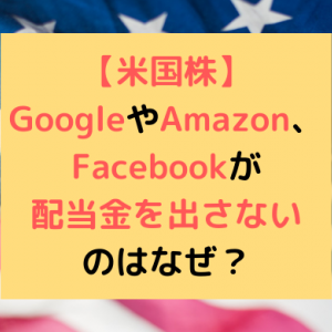 【米国株】GoogleやAmazon、Facebookが配当金を出さないのはなぜ?