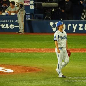 9回三嶋一輝 丸と岡本に打たれました