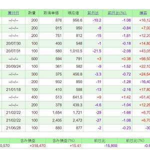 【中国恒大ショックで株価暴落】マイペースOL保有の株価への影響は?ポートフォリオを公開します(2021/09/23時点)