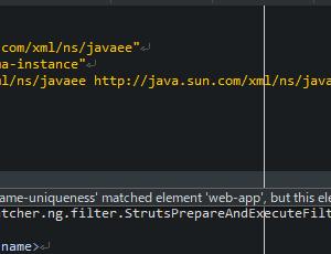 Eclipse上のweb.xmlでエラー