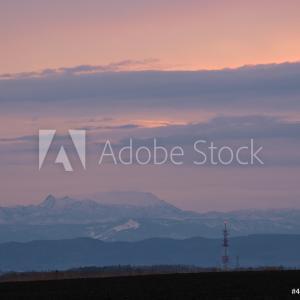 夜明け時の北海道北広島市の風景