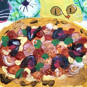【絵】2枚のピザと4匹の猫